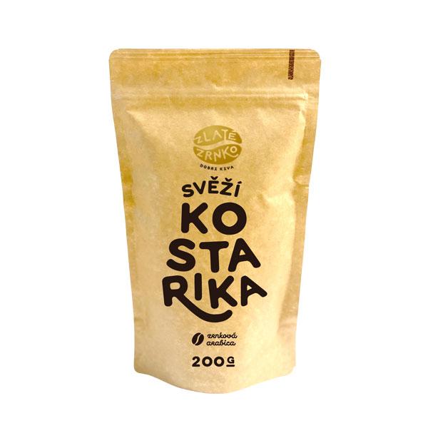 """Levně Káva Zlaté Zrnko - Kostarika - """"SVĚŽÍ"""" 1 kg MLETÁ: Mletí na espresso a zalévání (jemné)"""