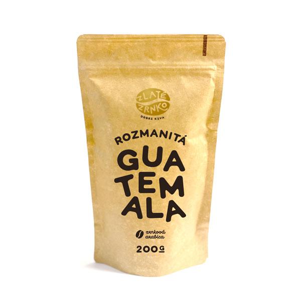 """Levně Káva Zlaté Zrnko - Guatemala - """"ROZMANITÁ"""" 200 g MLETÁ: Mletí na espresso a zalévání (jemné)"""