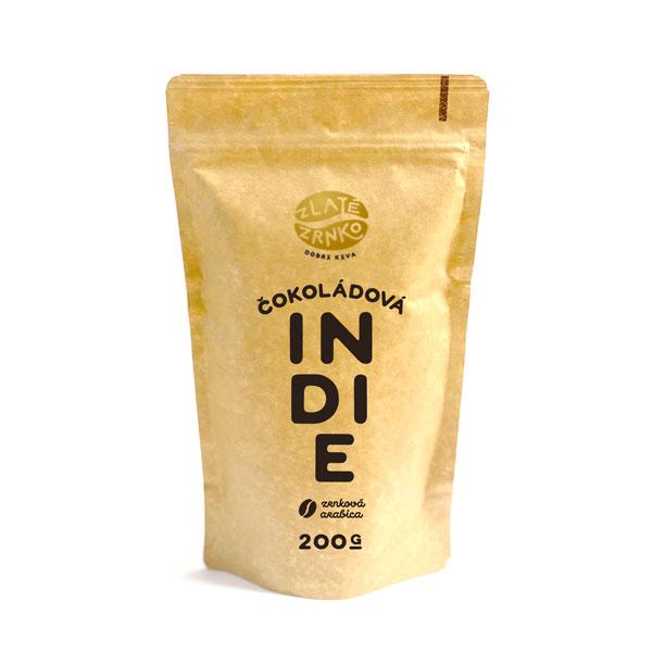 """Levně Káva Zlaté Zrnko - Indie - """"ČOKOLÁDOVÁ"""" 200 g MLETÁ: Mletí na espresso a zalévání (jemné)"""